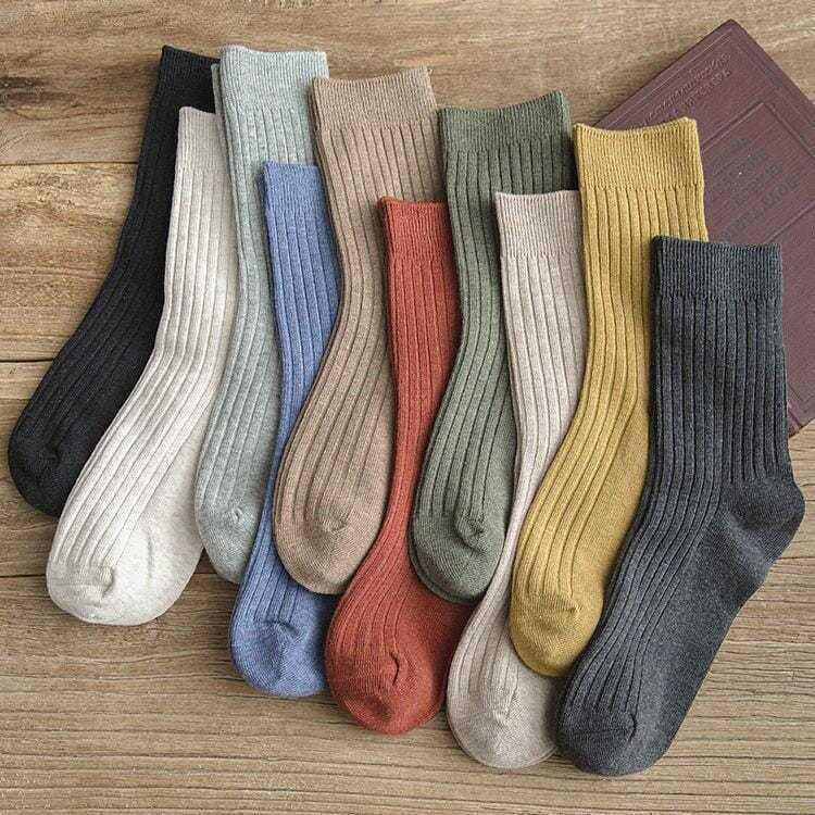 【3-5双】袜子女韩版中筒袜春秋冬棉袜ins长筒袜日系长袜子堆堆袜