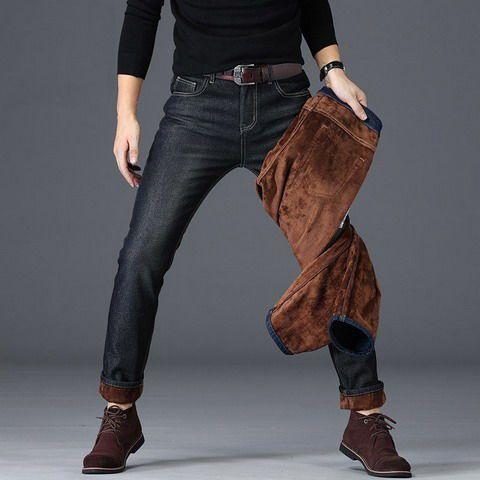 加绒加厚,保暖不紧绷:花花公子 男士 修身直筒弹力牛仔裤