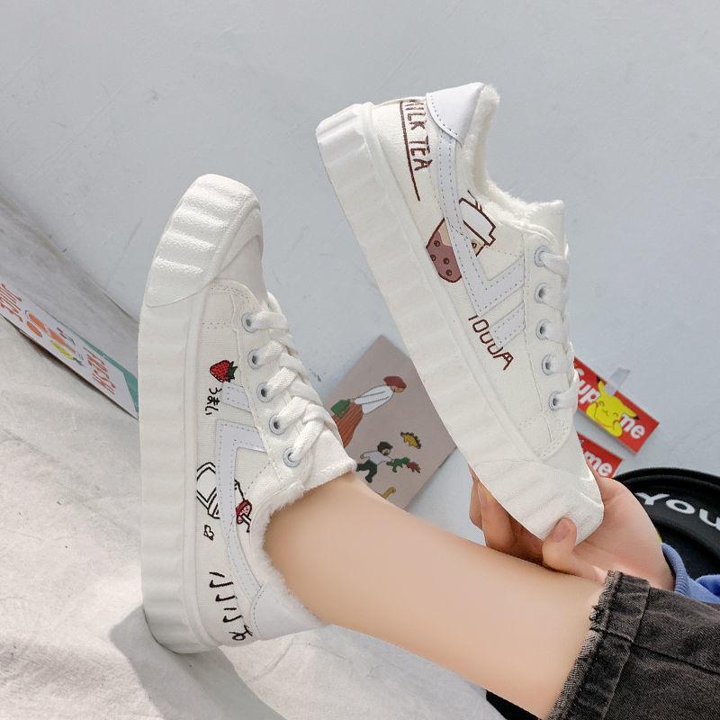 冬季加绒帆布鞋女学生韩版小白鞋2020新款棉鞋百搭ins平底运动鞋