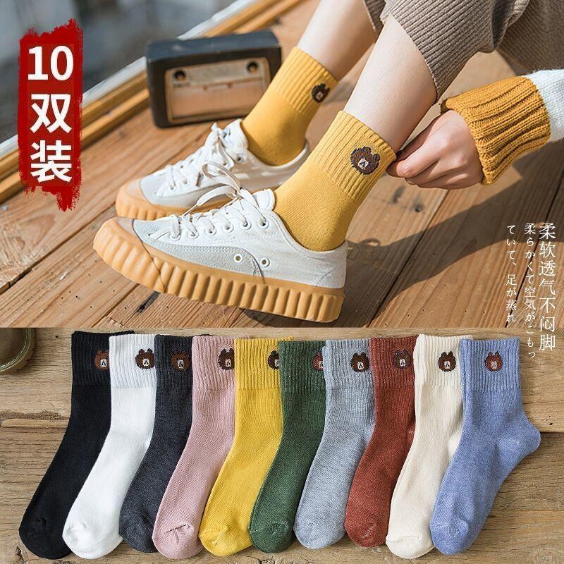 袜子女韩版中筒原宿风秋季女袜韩版短袜堆堆袜潮袜时尚秋季长筒袜