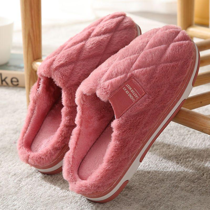 2020新款棉拖鞋女冬季居家防滑厚底保暖毛毛家用可爱室内情侣男