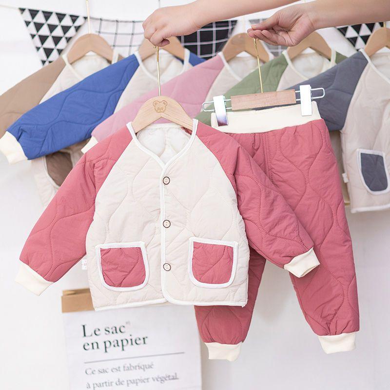 童装男童套装中小童1-6女宝宝冬季套装三层夹棉加厚女童冬装套装