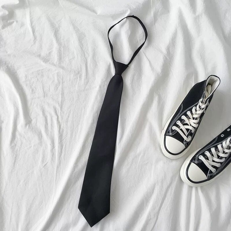 韩版学院风INS超火的原宿bf风复古简约纯色黑色百搭领带男女通用