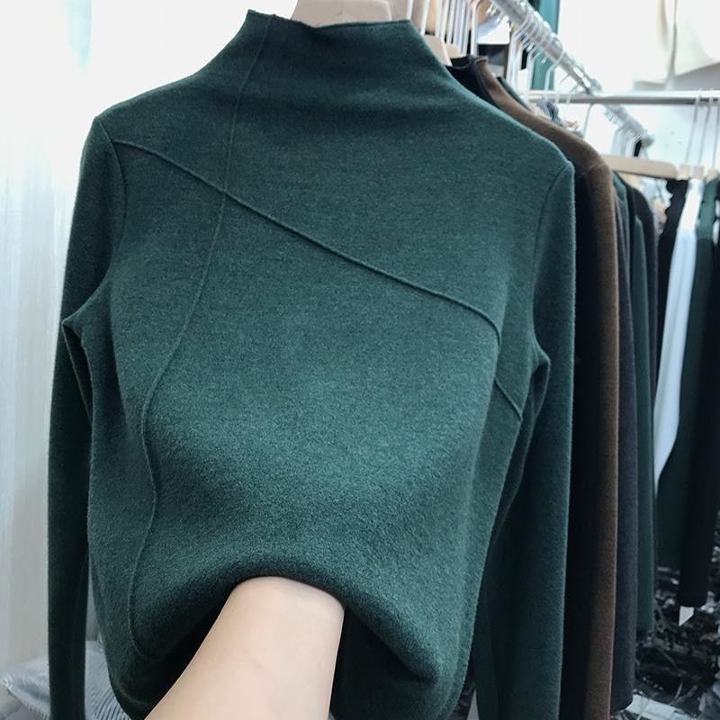 加厚双面德绒磨毛打底衫女2020洋气秋冬欧货新款显瘦时髦长袖上衣