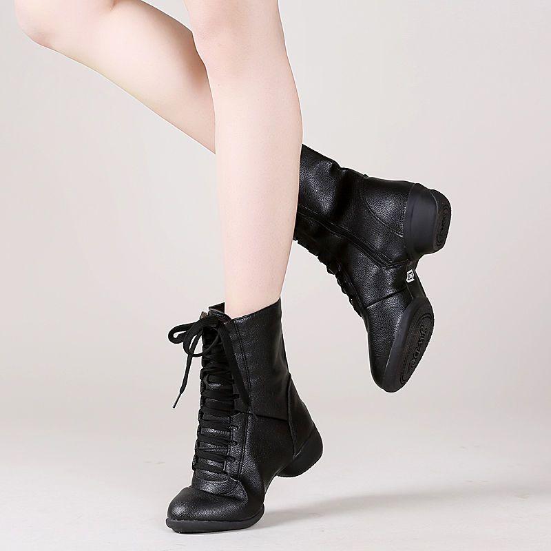 便宜的水兵舞鞋女软底中跟外穿舞蹈鞋加绒加厚舞靴子成人秋冬广场跳舞鞋