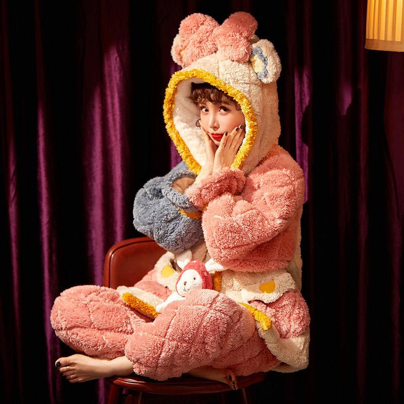 洋气睡衣女秋冬新款珊瑚绒加厚三层夹棉冬季可爱家居服套装可外穿