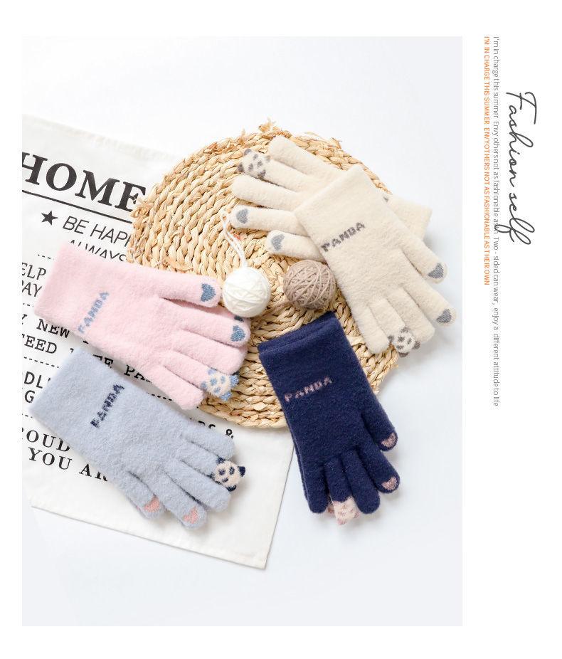 手套冬天女ins可爱加绒触屏针织保暖秋冬季学生防寒骑车毛绒韩版