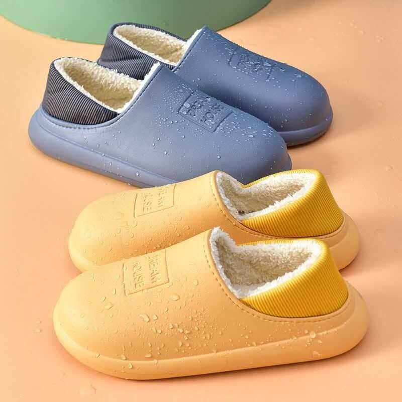 棉拖鞋女可外穿包跟情侣厚底防滑防水男家居家用室内秋冬季月子鞋