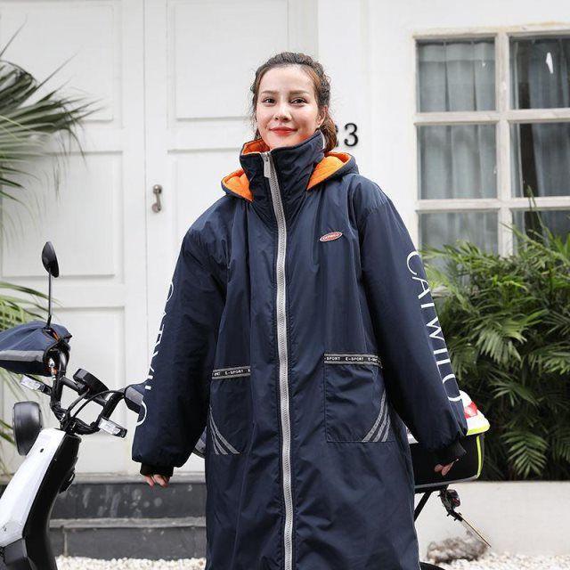 电动车挡风被雨衣冬天加绒加厚保暖挡风衣电瓶车防风罩防水骑车服