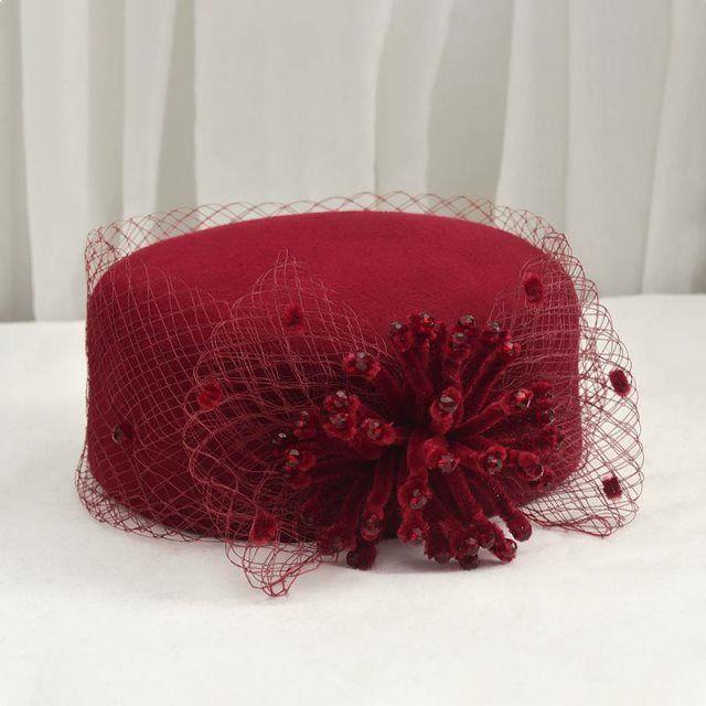 帽子女秋冬新款贝雷帽南瓜帽羊毛帽呢帽礼帽百搭网纱女帽正装冬帽