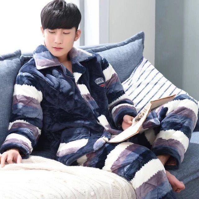 秋冬季男士睡衣珊瑚绒冬款加厚加绒保暖法兰绒三层夹棉家居服套装