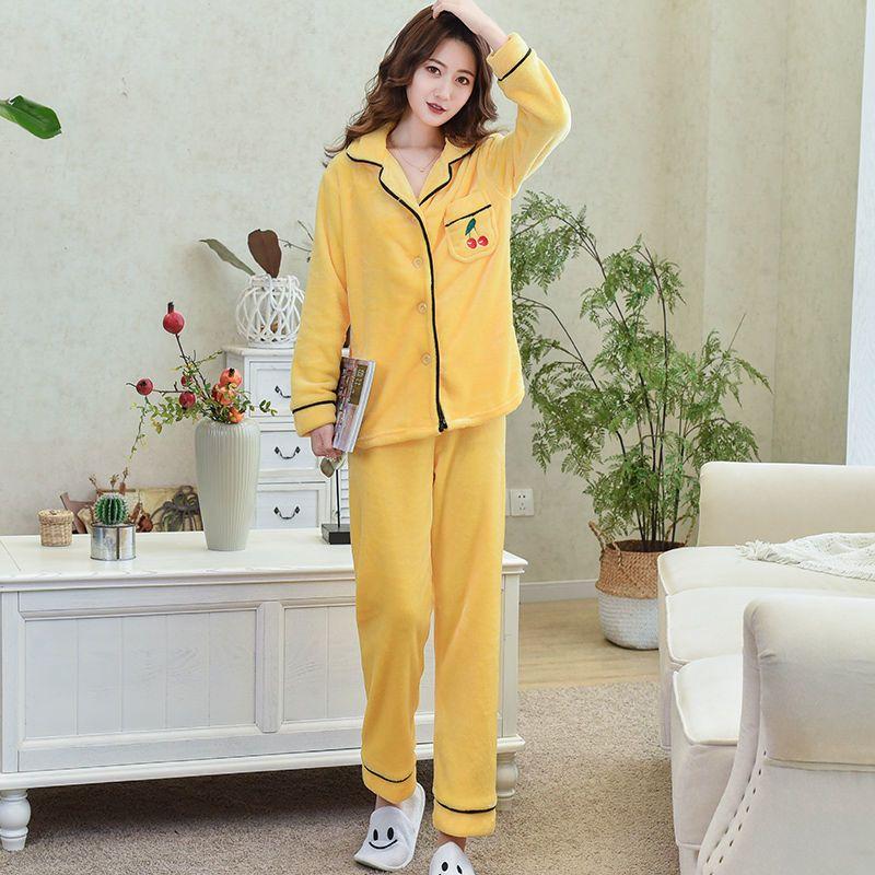 睡衣女秋冬季法兰绒睡衣加绒加厚可外穿法兰绒家居服套装