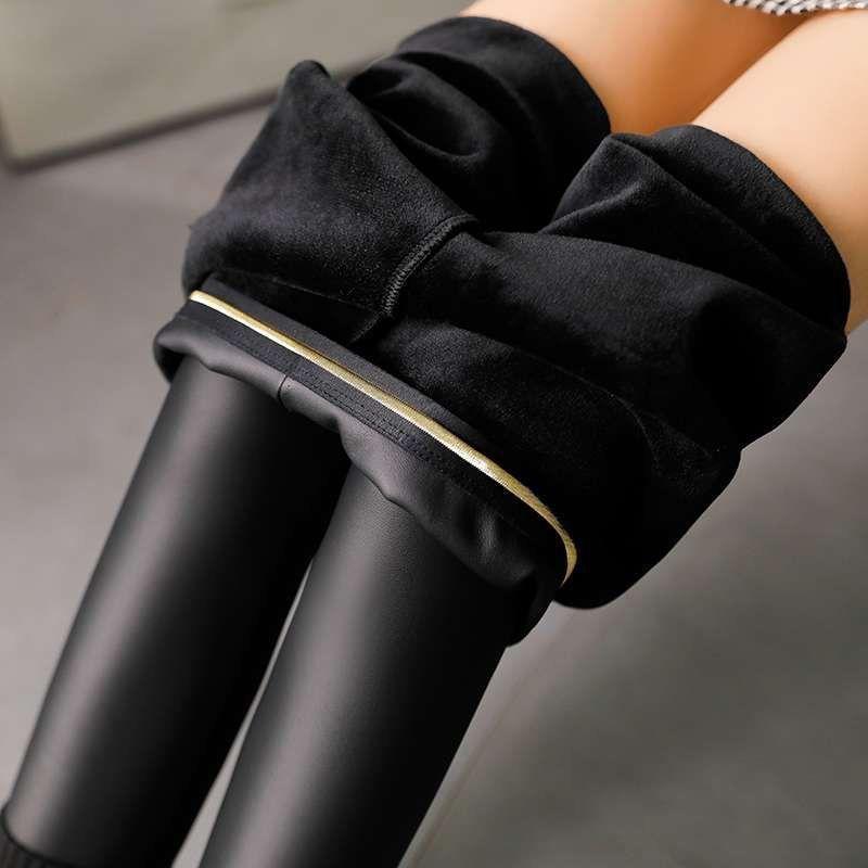 韩版秋冬季女士哑光高腰大码皮裤子女薄绒加绒加厚打底裤外穿新款