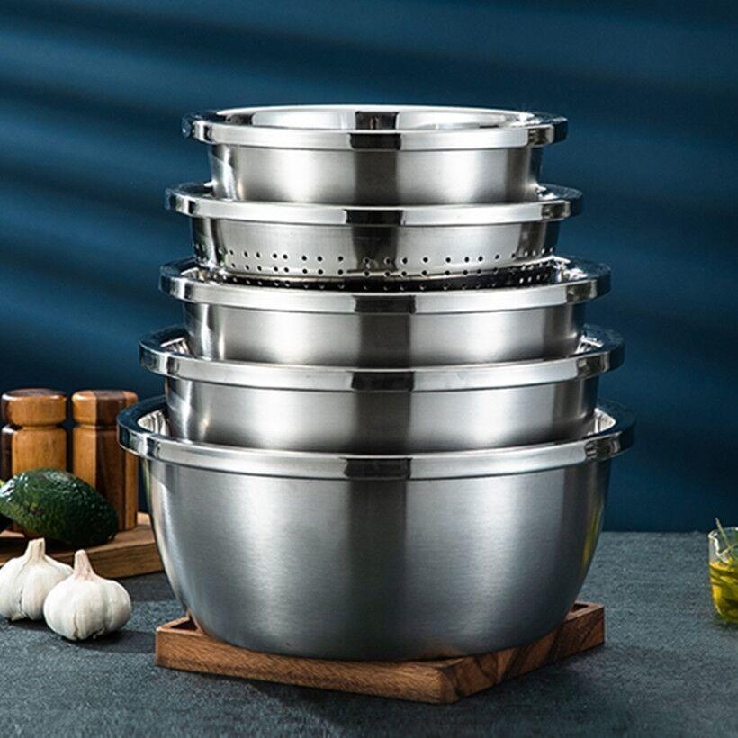 【五件套】不锈钢盆子装加厚圆形家用厨房打蛋和面淘米洗菜漏汤盆