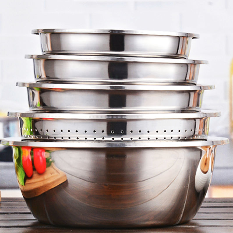 【五件套】不锈钢盆圆形加厚加深盆子家用厨房装汤和面洗菜沥水盆