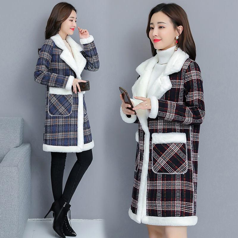 54270-大码女装秋冬季韩版加绒加厚胖mm200斤中长款仿羊羔绒外套大衣潮-详情图