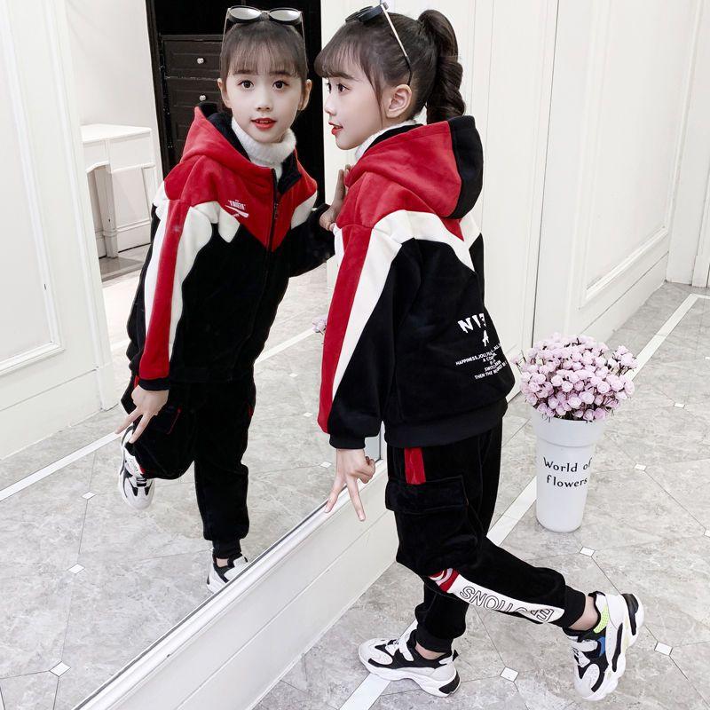 女童冬装金丝绒套装2020新款网红儿童洋气加绒加厚大童运动两件套