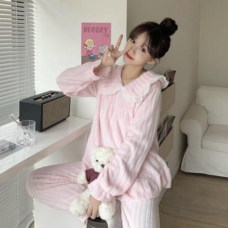 2020新款睡衣女秋冬季珊瑚绒甜美可爱法兰绒公主风少女家居服套装