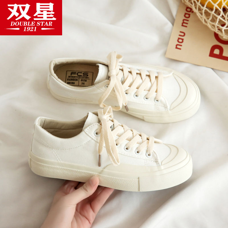 双星小白鞋女学生韩版百搭2021新款ins原宿风帆布鞋春季潮流板鞋