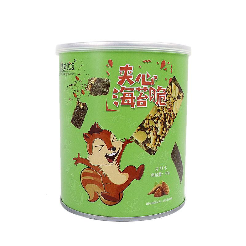 37814-5罐装海苔夹心脆罐装海苔片40g儿童休闲小零食芝麻夹心小吃批发-详情图