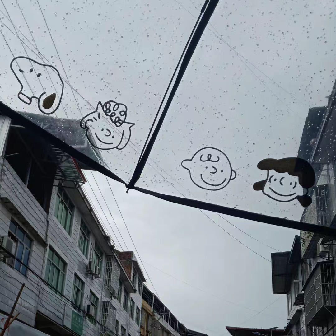 韩国透明雨伞女折叠全自动开收三折伞学生小清新可爱卡通加厚ins