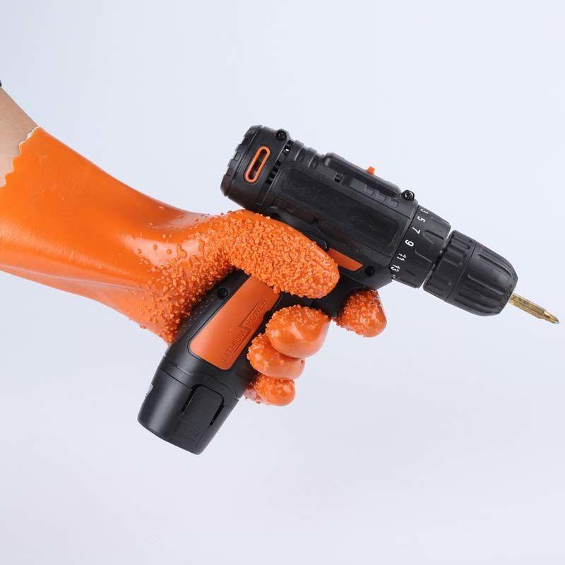 全浸塑橡胶手套劳保耐磨杀鱼加厚颗粒磨砂防滑防水工业防油耐酸碱