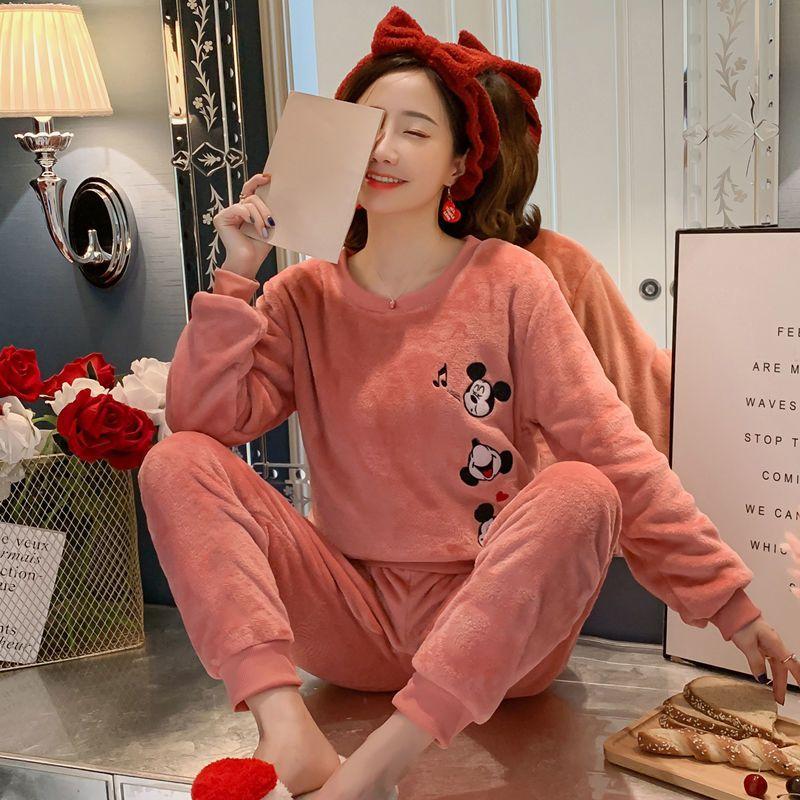 秋冬季法兰绒韩版卡通睡衣女长袖套装可爱珊瑚绒甜美冬天女士睡衣