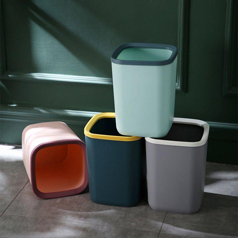 北欧风方形垃圾桶厨房家用客厅创意可爱少女卧室现代简约无盖大号