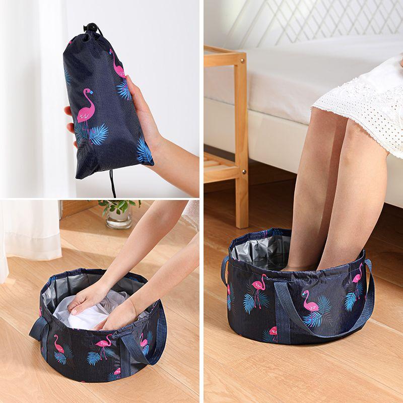 泡脚桶可折叠水盆简易便携式大水桶旅行军训过膝洗脚盆旅游泡脚袋