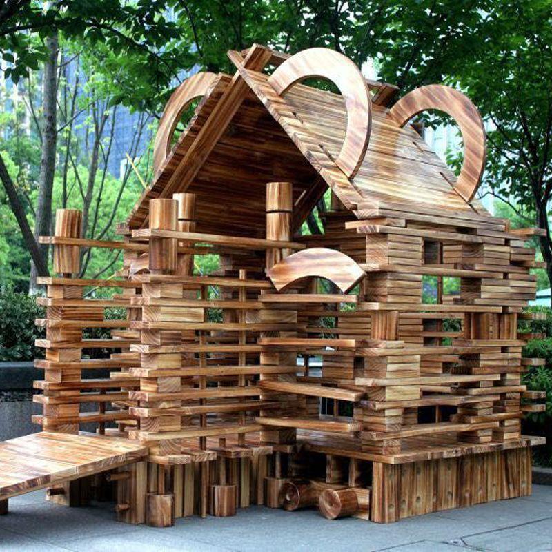 幼儿园构建积木大型户外实心碳化积木中空炭烧建构区原木大型积木