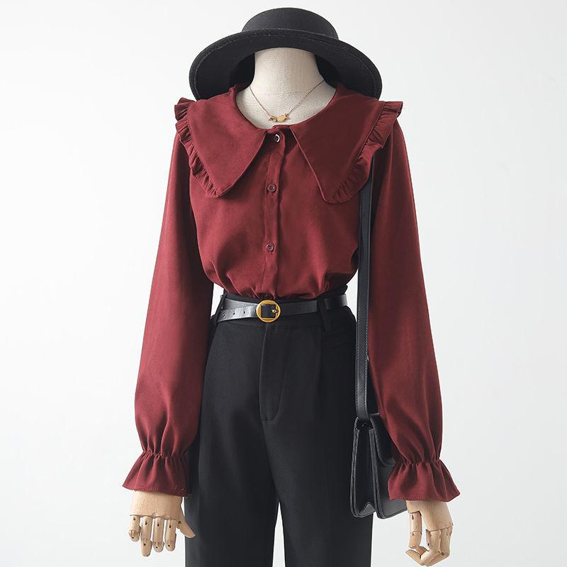 衬衫女设计感小众2020年秋冬新款喇叭袖娃娃领荷叶边大领长袖上衣