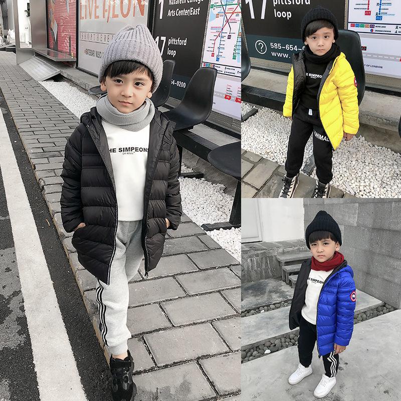 男童冬装连帽外套羽绒服轻薄南方一件中大儿童白鸭绒羽绒服过冬