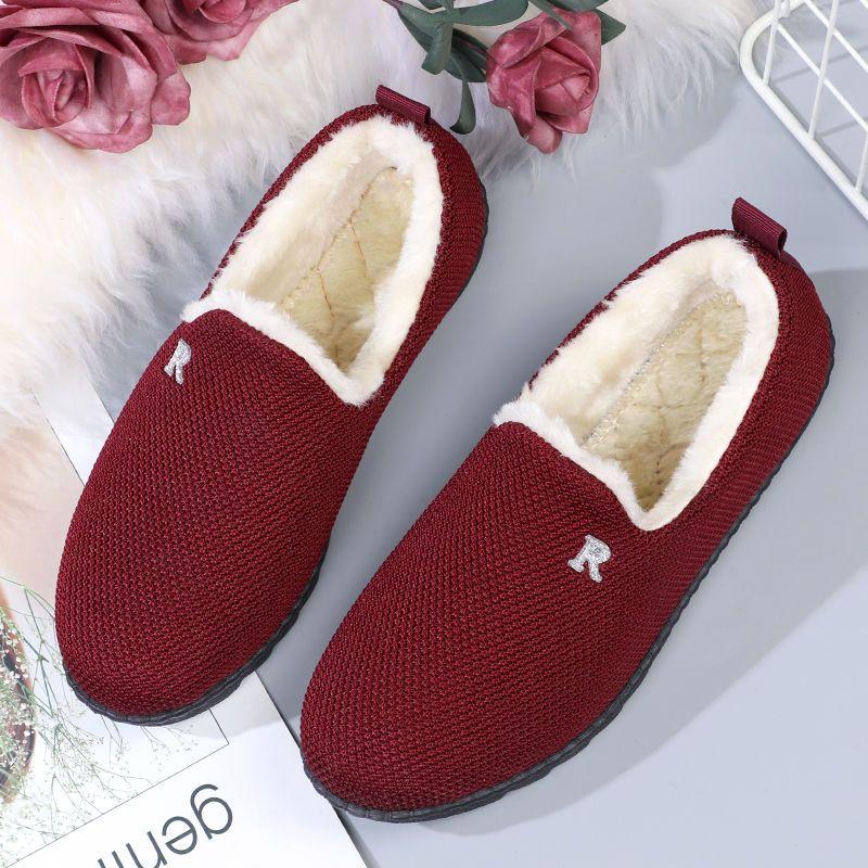 冬季老北京布鞋女棉鞋加厚保暖居家棉拖鞋平底韩版百搭加绒豆豆鞋