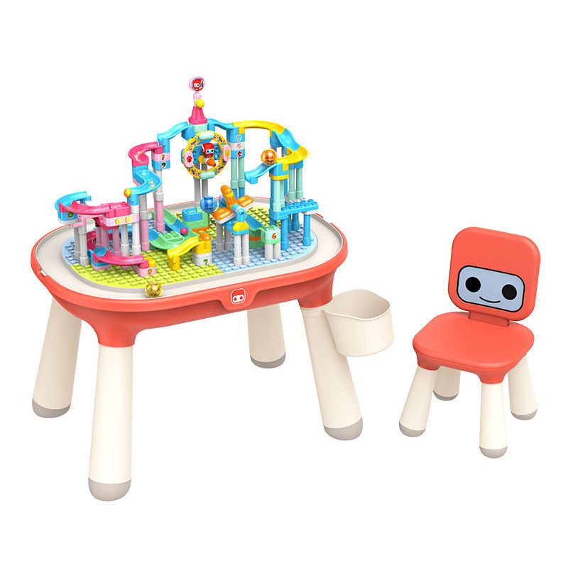 【爆款推荐布鲁可新款积木桌大颗粒创造版】布鲁可滑轨乐园积木桌