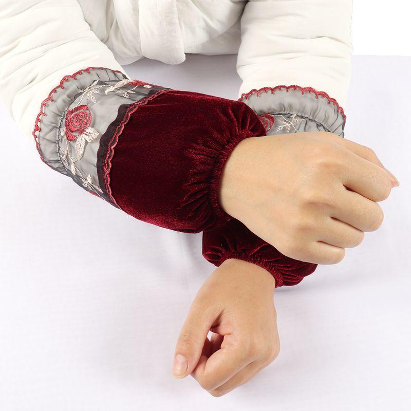 金丝绒袖套女秋冬短款蕾丝防脏羽绒服棉衣服工作护袖厨房防污袖筒