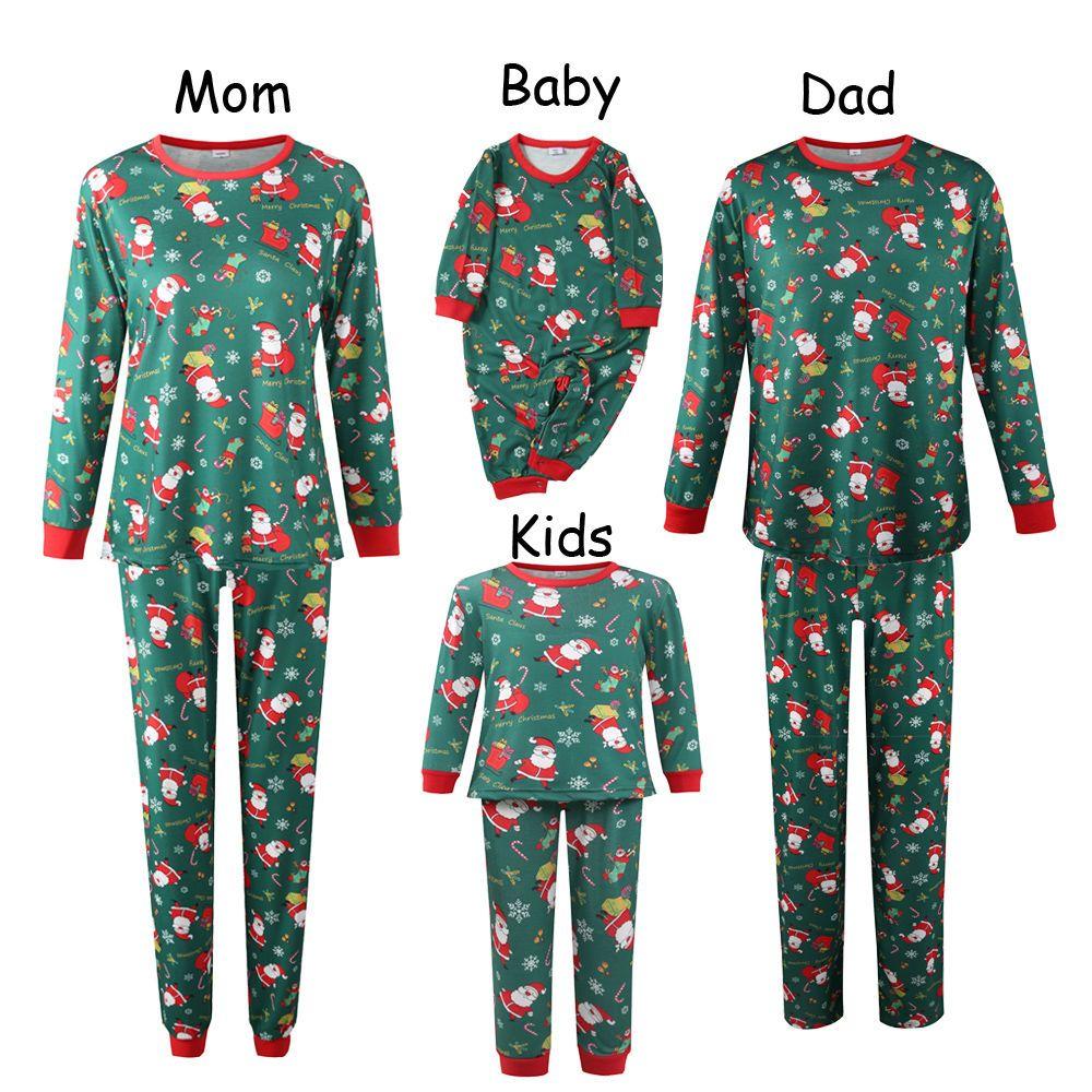 亚马逊跨境欧美圣诞款亲子套装2020秋冬新款女式宽松家居服睡衣女