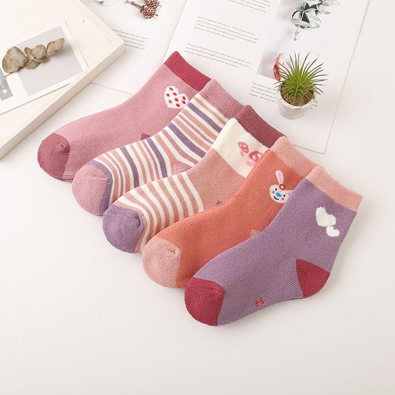 儿童袜子纯棉秋冬季加厚男童女童保暖舒适中大童婴儿中筒宝宝棉袜