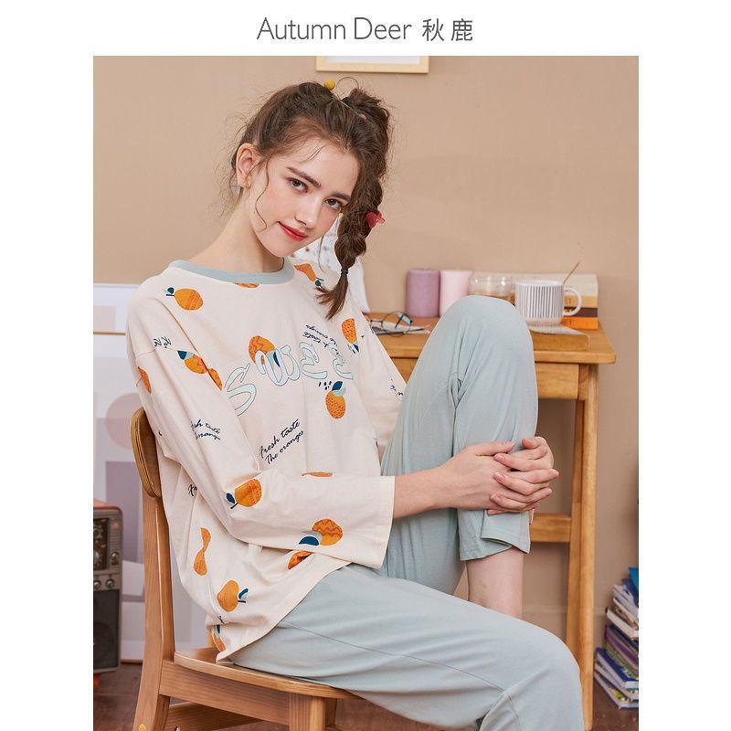 秋鹿秋季睡衣女纯棉长袖圆领清新韩版可爱拼接撞色女士家居服外穿