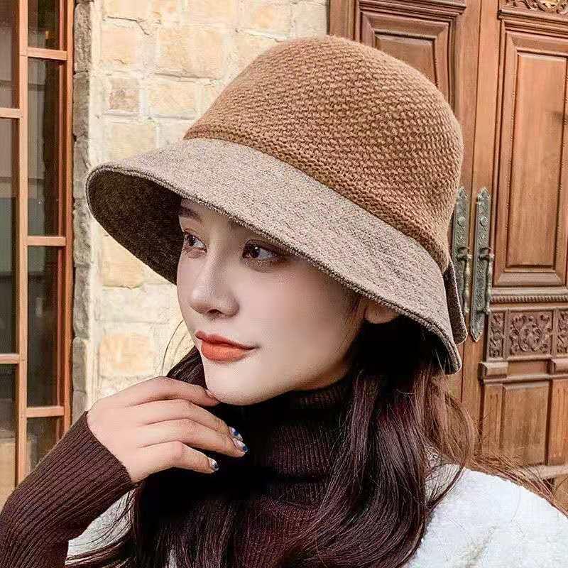 帽子女士冬天千鸟格渔夫帽百搭韩版日系盆帽针织拼接2020新款毛绒