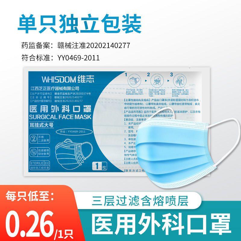 医用外科医生专用一次性口罩灭菌防护三层口罩单独独立包装100只