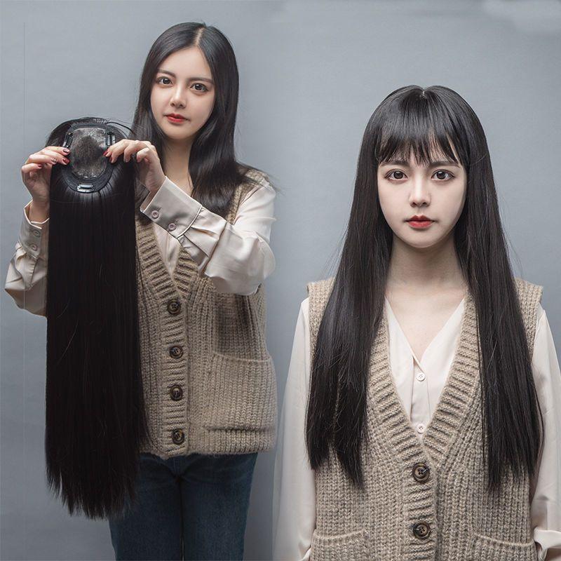 仿真头顶假发女长直发长卷发遮白发