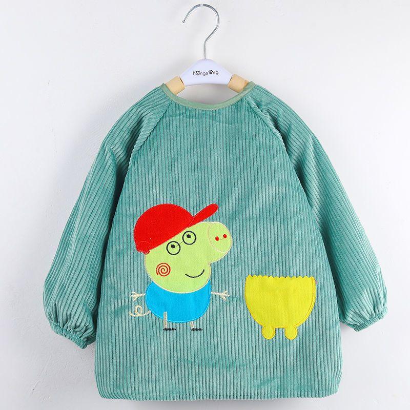 儿童罩衣宝宝防水罩衣长袖加厚反穿衣吃饭围兜秋冬款男女童倒穿衣