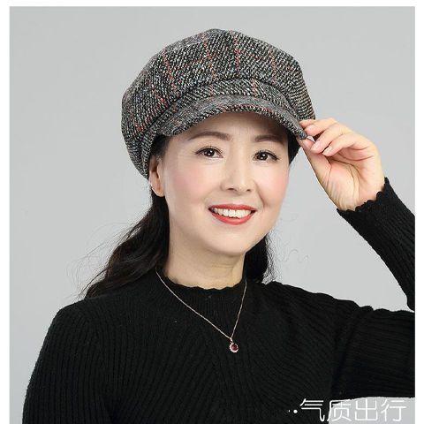 新款帽子女中老年人妈妈八角帽韩版潮秋冬百搭防风保暖加绒鸭舌帽