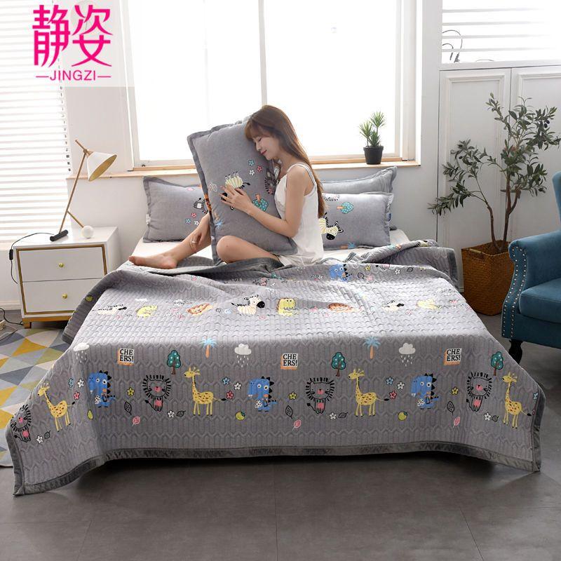三层夹棉床盖四季通用多功能床盖榻榻米垫子床单双人防滑双面盖毯