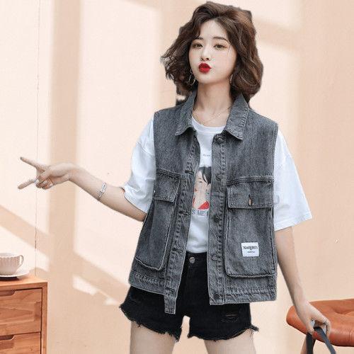 牛仔马甲女学生工装韩版2021年春夏新款女装宽松无袖背心马夹外套