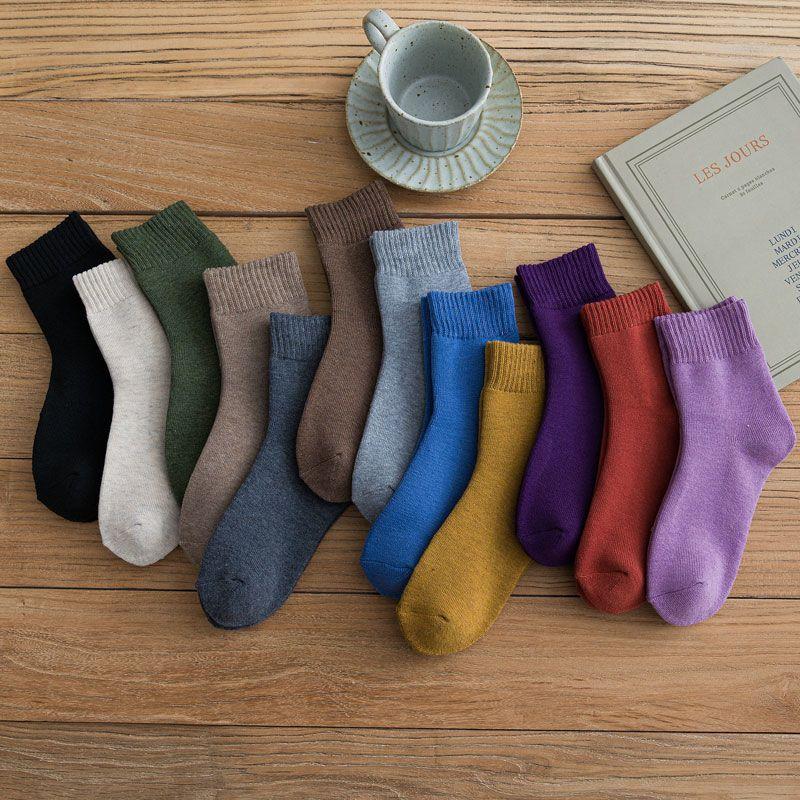 袜子女冬季加绒中筒袜加厚毛圈保暖韩版男款纯棉地板毛巾居家长袜