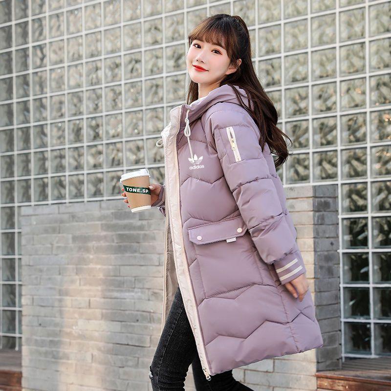 Adidas愛迪達 耐吉三葉草冬季新款韓版中長款寬松羽絨棉服外套時尚加厚連帽棉襖女潮