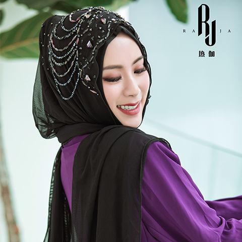 热伽RAJA新款穆斯林头巾初洛方便套头长巾款透气纱巾回族盖头包邮