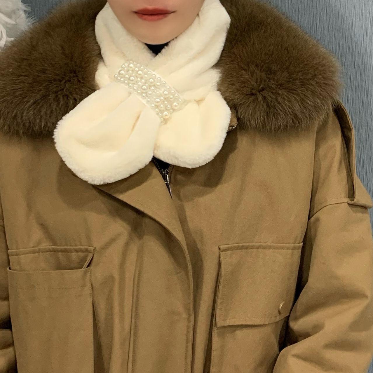 仿兔毛时尚精品女秋冬季加厚保暖围脖学生少女潮流百搭珍珠暖围脖