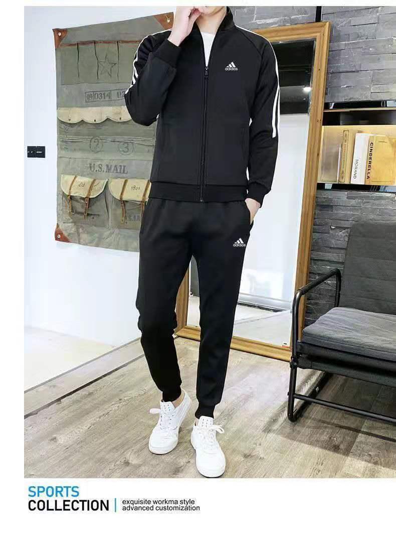 【店鋪推薦】男士春秋冬運動套裝休閑戶外跑步居家健身修身束腳大碼學生裝